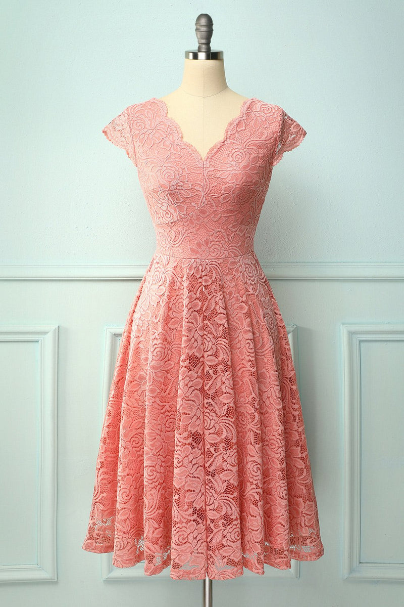 Load image into Gallery viewer, Blush V Neck Midi Lace