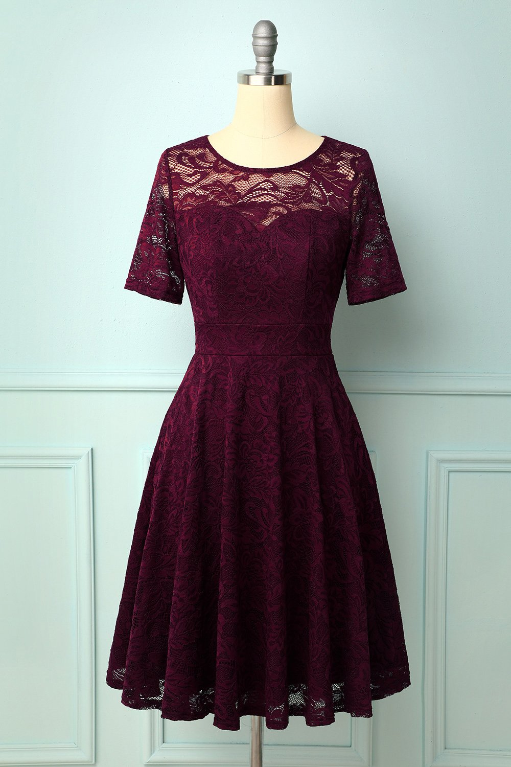Burgundy Bridesmaid Lace Dress