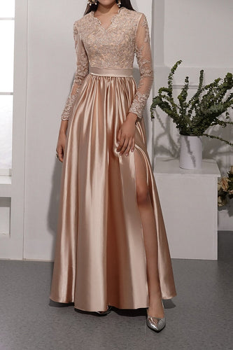 Champagne Long Sleeves V Neck Prom Dress