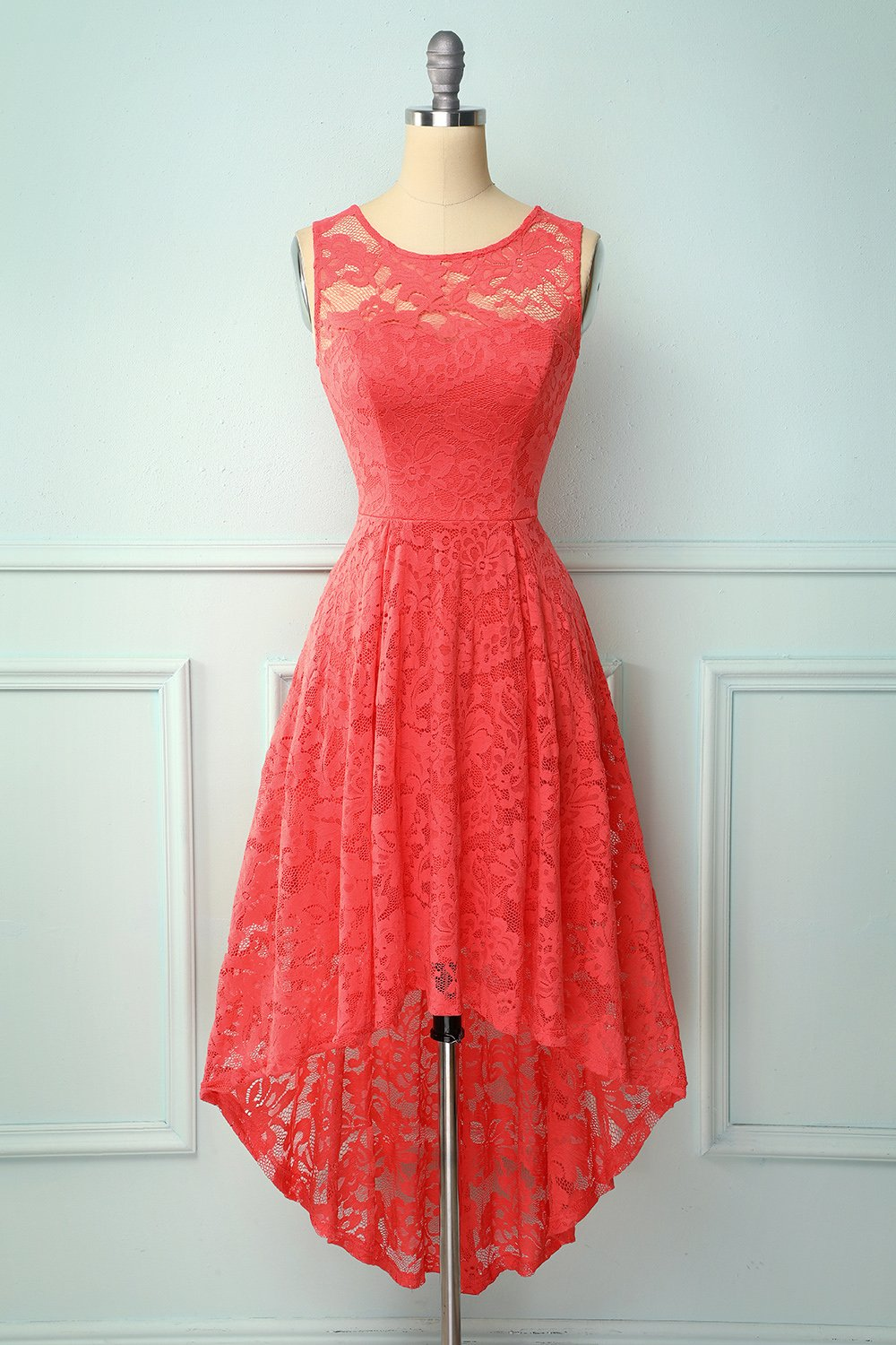 Coral High Low Lace Party Dress