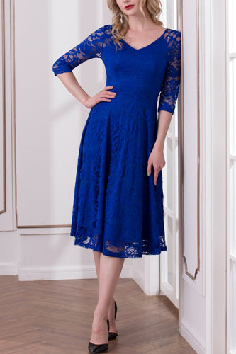 Royal Blue Half Sleeve Lace Dress