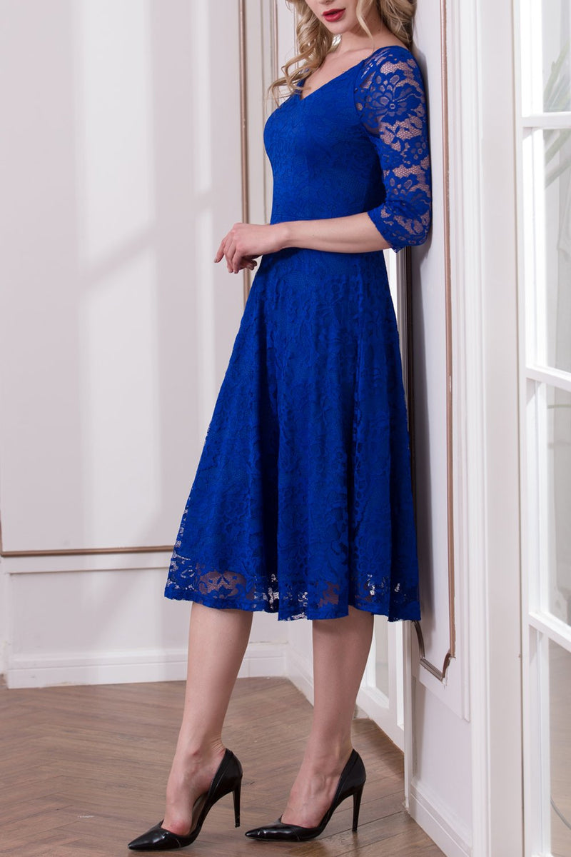Load image into Gallery viewer, Royal Blue Half Sleeve Lace Dress