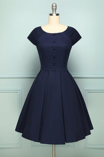 Navy Button Vintage Dress