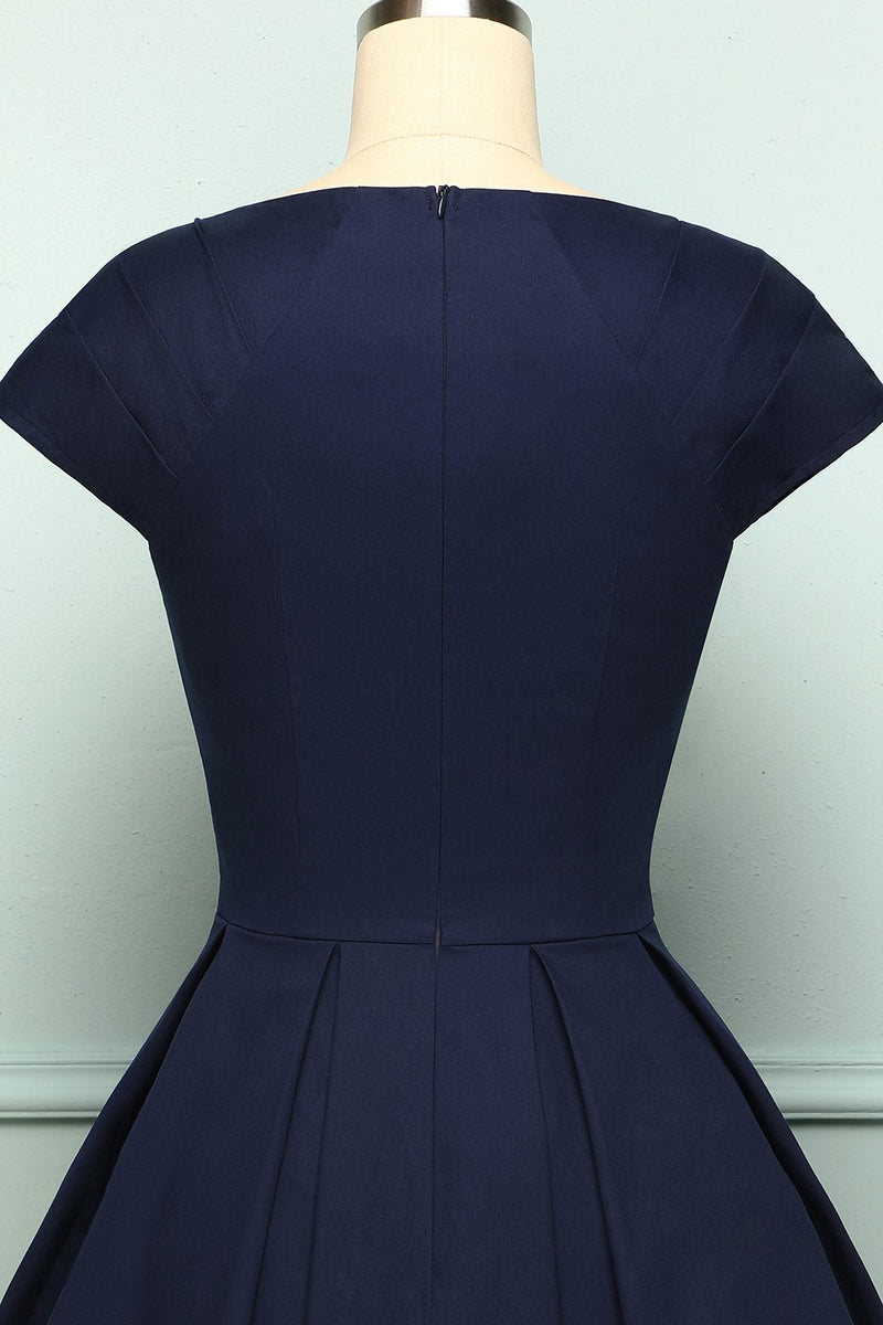 Load image into Gallery viewer, Navy Button Vintage Dress