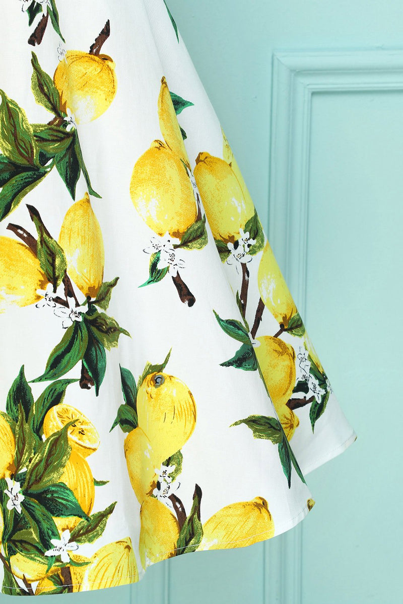 Load image into Gallery viewer, Lemon 1950s Swing Dress