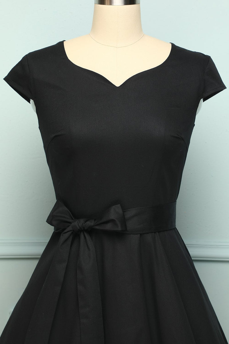 Load image into Gallery viewer, 1950s Black Swing Dress