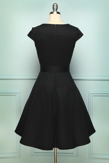 1950s Black Swing Dress