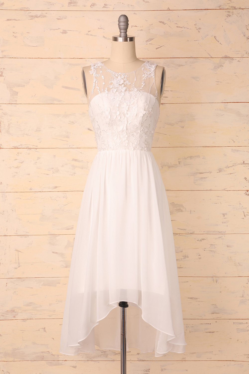 White Appliques Homecoming Dress