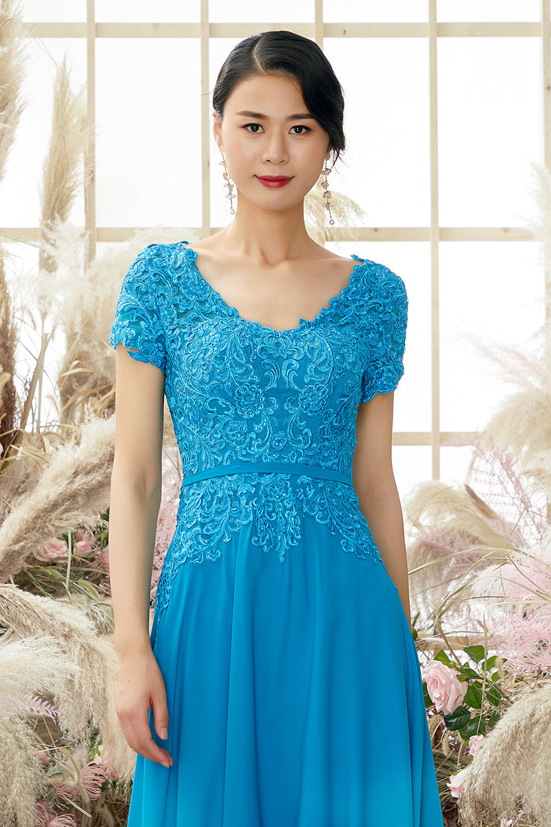 Load image into Gallery viewer, V Neck Peacock Blue Appliques Mother of Bridal Dress