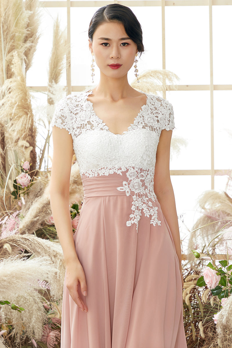 Load image into Gallery viewer, V Neck Appliques Mother of Bridal Dress Short Sleeves
