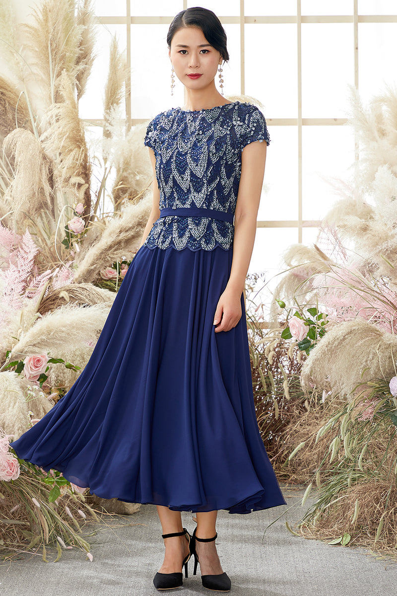 Load image into Gallery viewer, Navy Round Neck Mother of Bridal Dress with Sequins