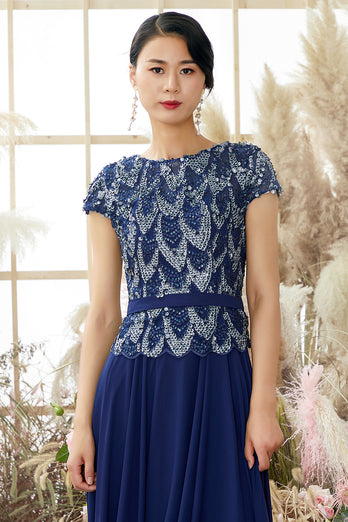 Navy Round Neck Mother of Bridal Dress with Sequins