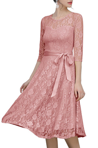 Blush Sash Lace Dress