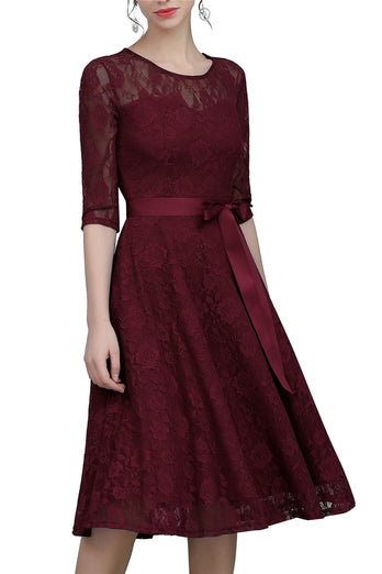 Burgundy Sash Lace Dress
