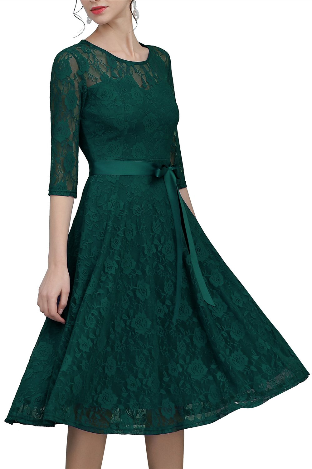 Green Sash Lace Dress