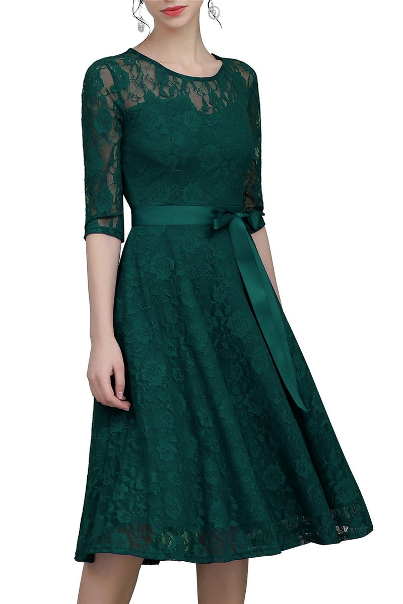 Load image into Gallery viewer, Green Sash Lace Dress