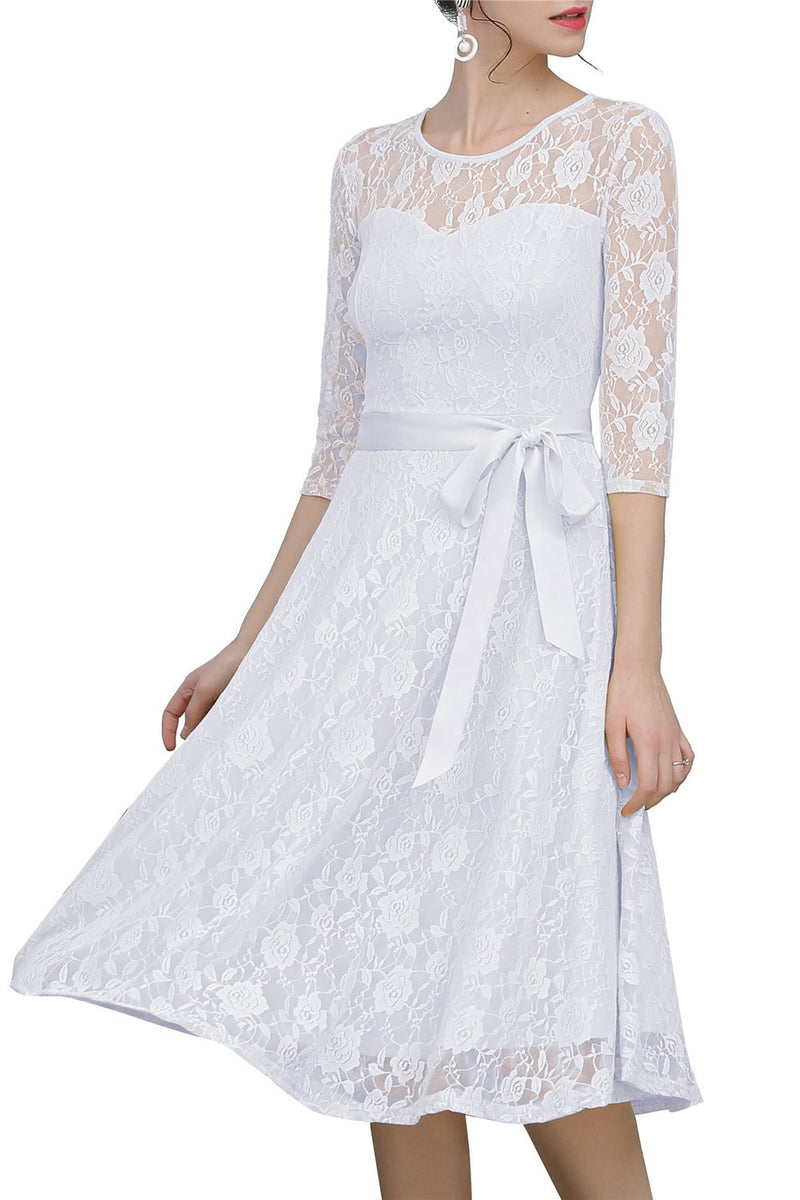 Load image into Gallery viewer, White Sash Lace Dress