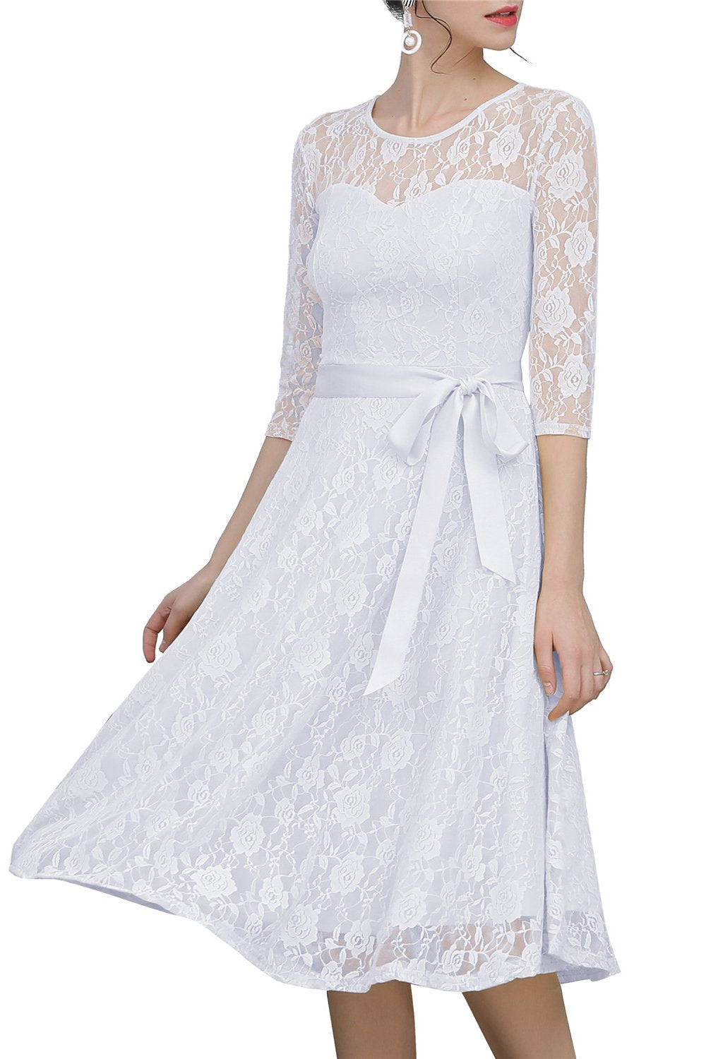 White Sash Lace Dress