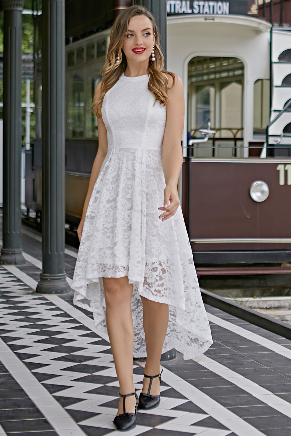 Asymmetric White Lace Dress