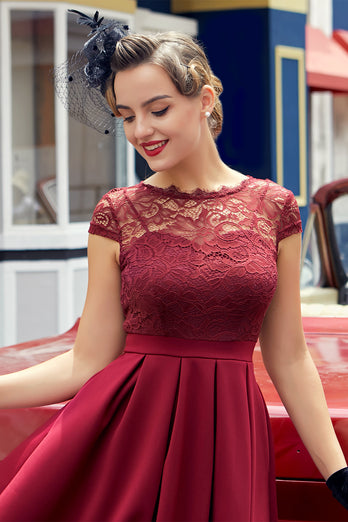 Burgundy Retro 1950s Dress With Lace