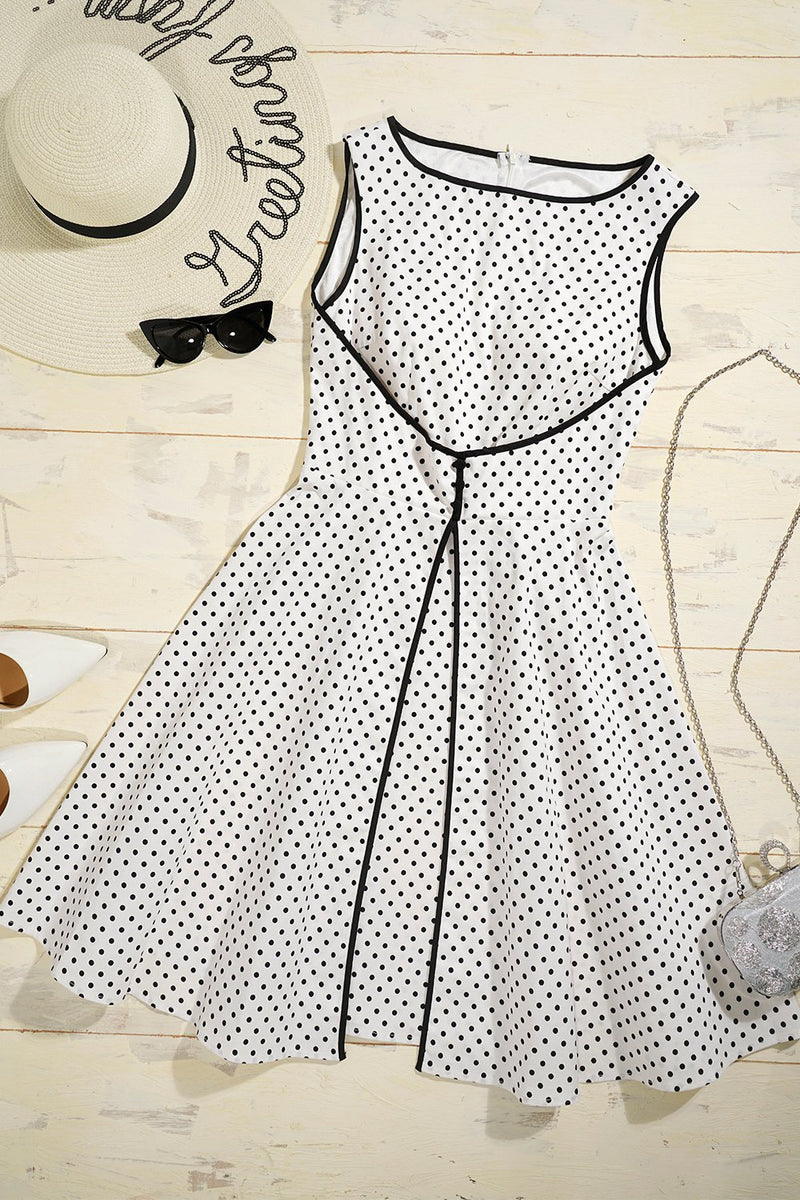 Load image into Gallery viewer, Faked Two Piece Dots Dress