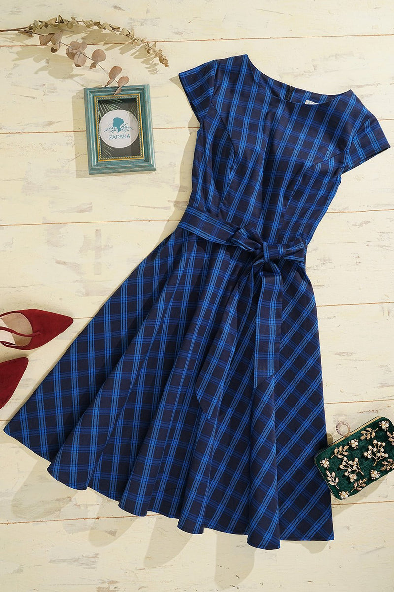 Load image into Gallery viewer, Navy Plaid Dress