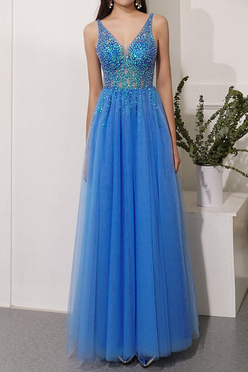 Blue Sequins Tulle Party Dress