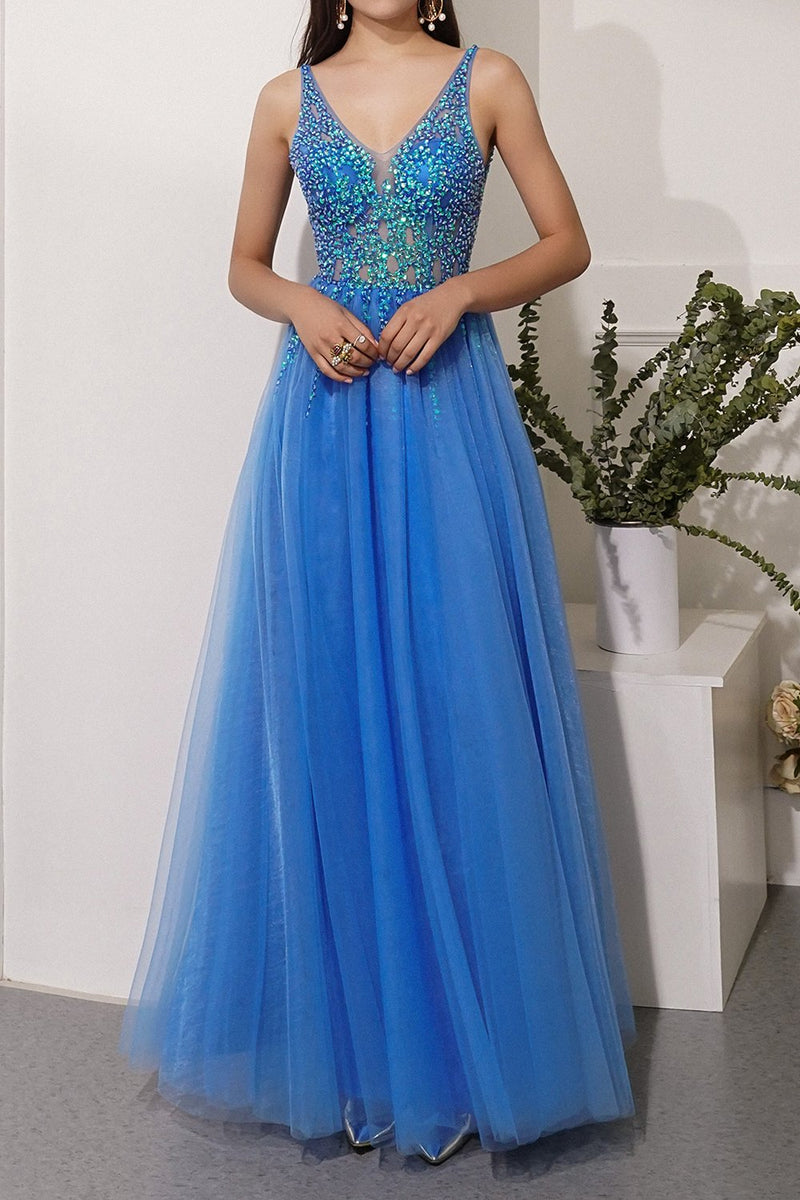Load image into Gallery viewer, Blue Sequins Tulle Party Dress