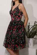 Load image into Gallery viewer, Floral Black Prom Dress
