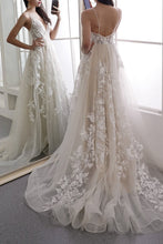 Load image into Gallery viewer, Ivory Deep V Neck Long Beach Wedding Dress