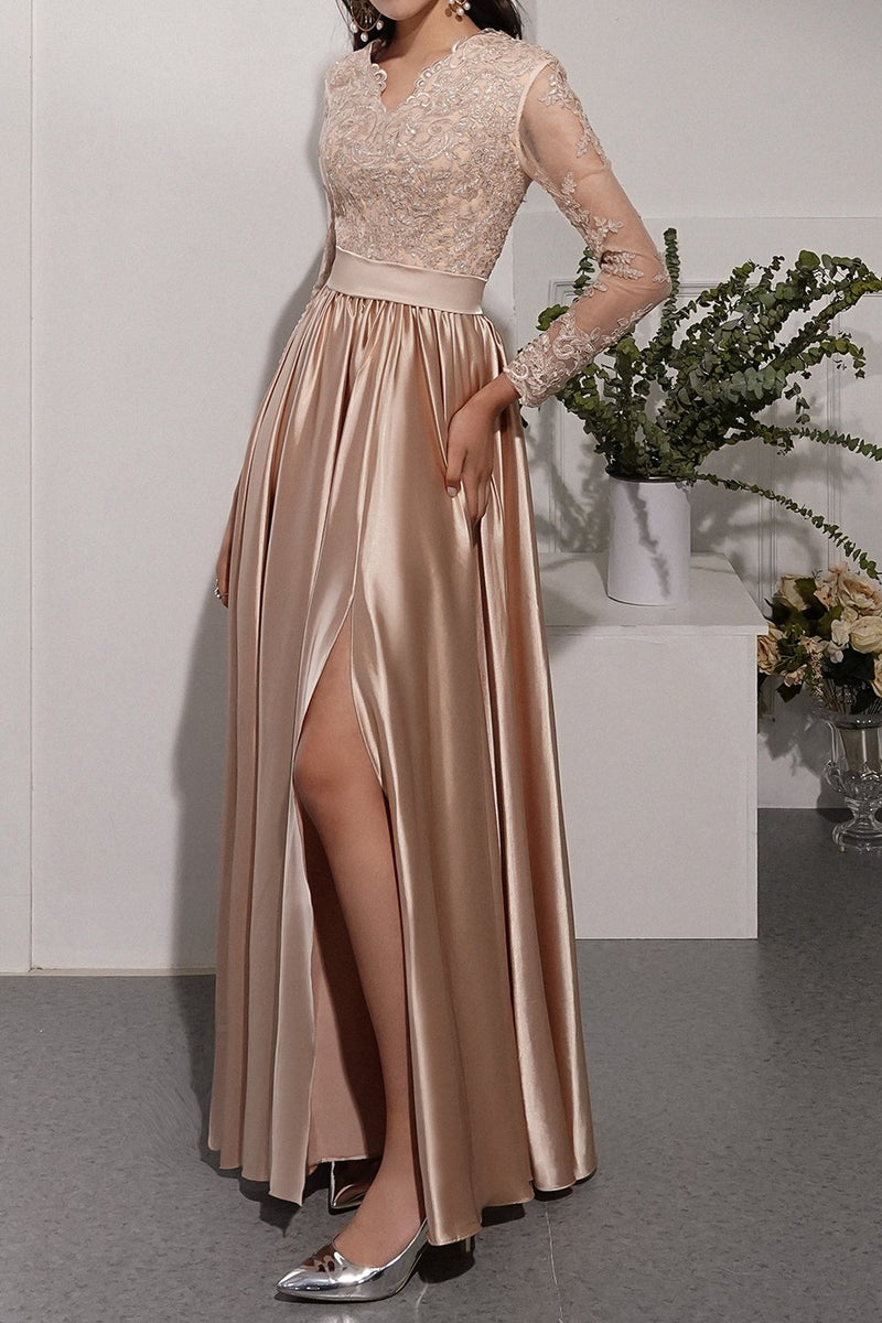 Load image into Gallery viewer, Champagne Long Sleeves V Neck Prom Dress