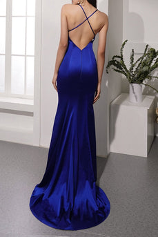 Royal Blue Satin Evening Dress