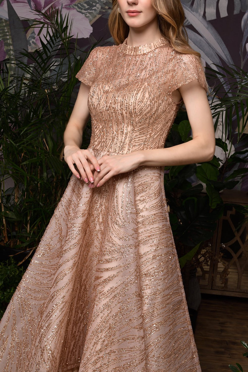 Load image into Gallery viewer, Rose Gold Sequined Prom Party Dress With Sleeves