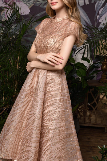 Rose Gold Sequined Prom Party Dress With Sleeves