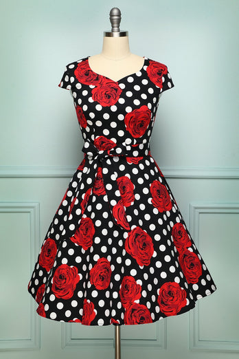 Black Red Rose Dot