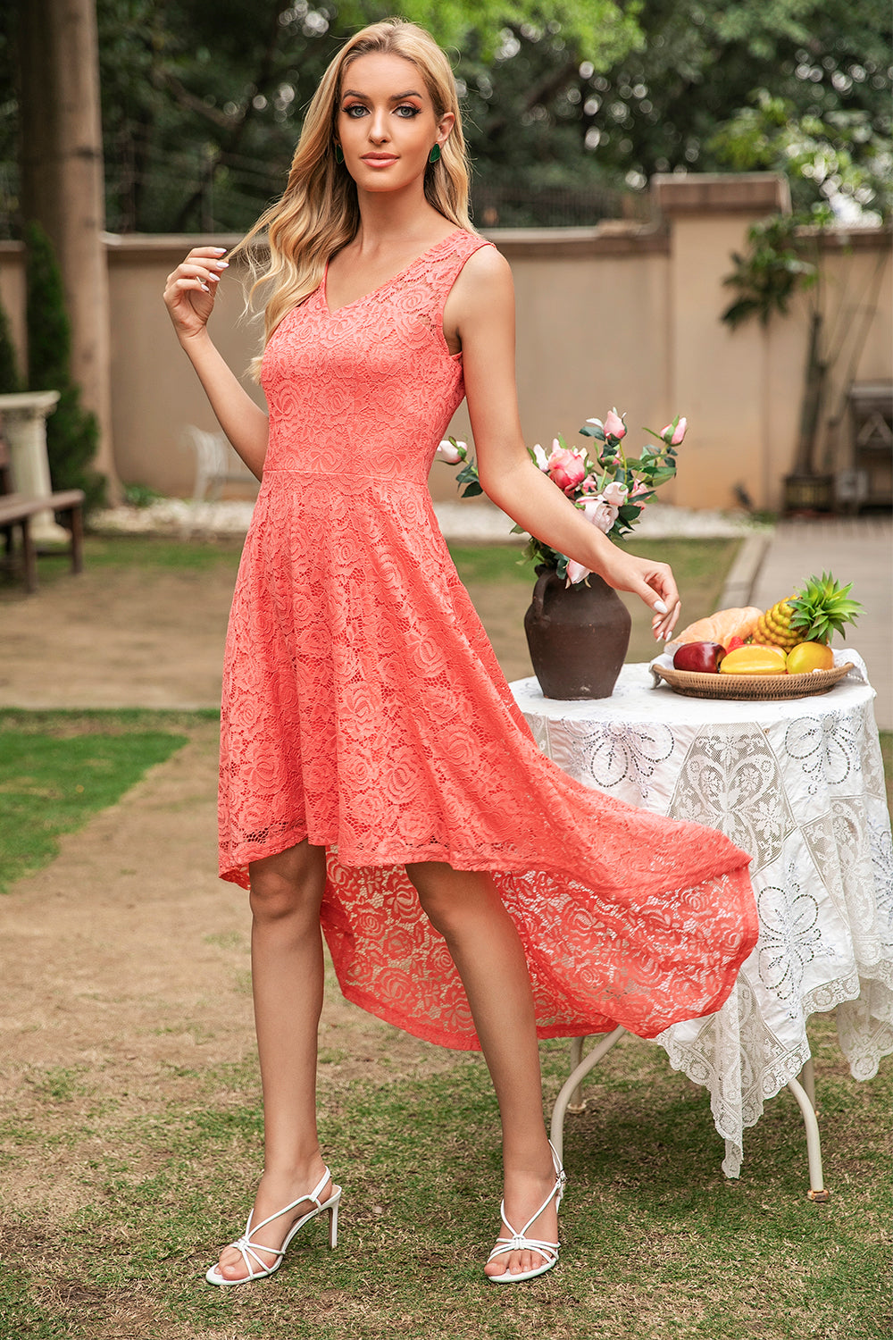 Coral High Low Lace Bridesmaid Dress