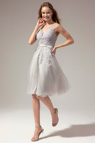 Grey Lace Homecoming Dress
