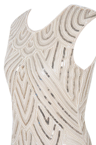 1920s Champagne Sequin Beaded Dress