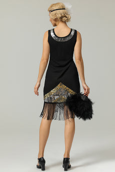 Black 1920s Sequins Fringe Flapper Dress