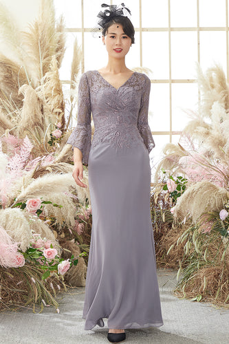 V Neck Lace Grey Mother of Bride Dress Long Sleeves
