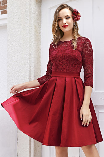Burgundy V Back Long Sleeves Dress