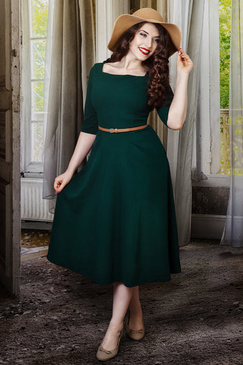 Long Sleeves Vintage Dress with Pocket