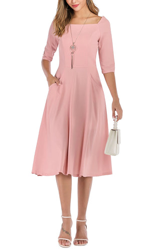 Pink Pockets Homecoming Dress