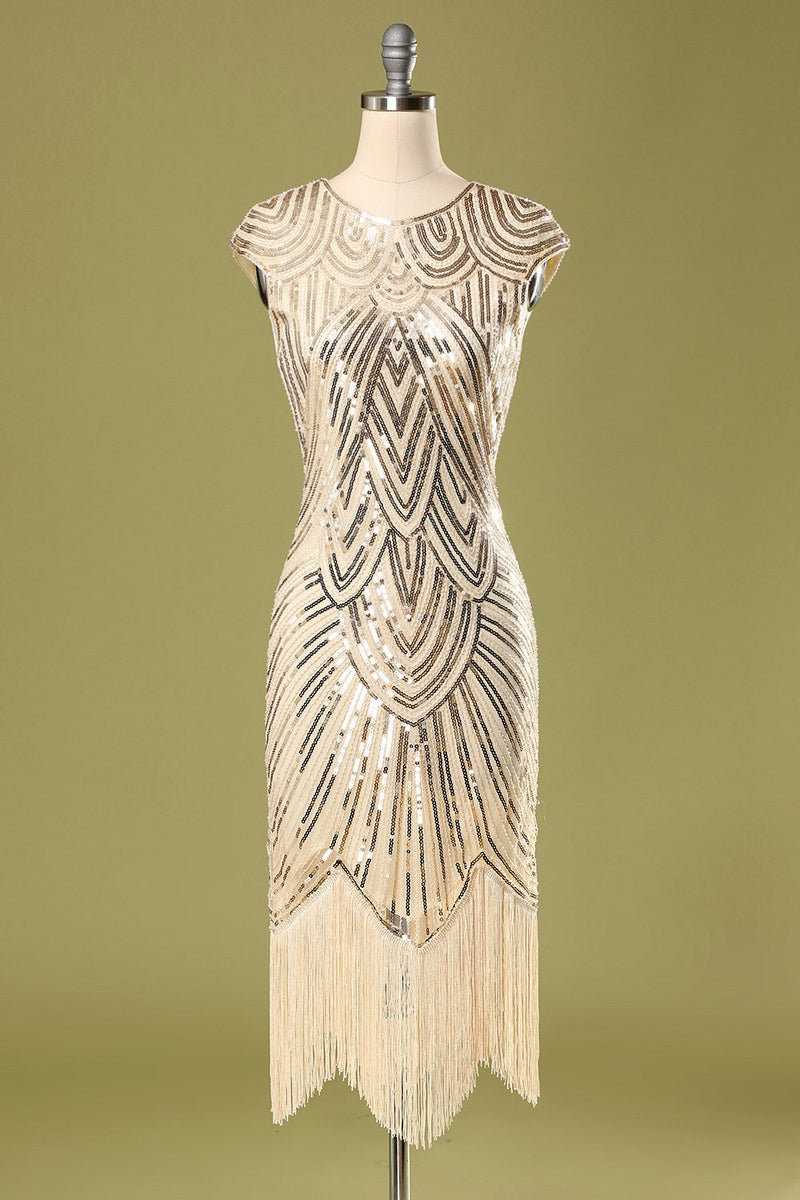 Load image into Gallery viewer, Gold Sequin Fringe Flapper Dress