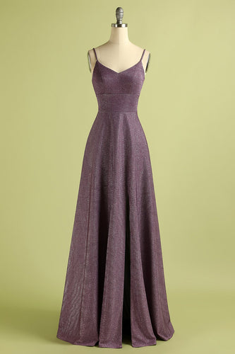 Grape Lace Up Long Satin Prom Dress