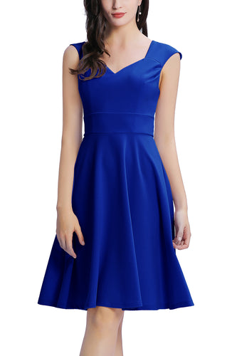 Royal Blue Solid Vintage Dress
