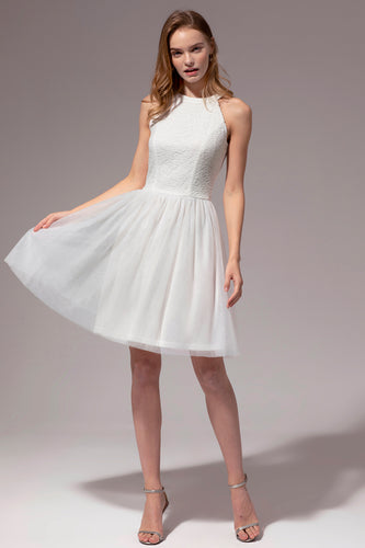 White Halter Lace Dress