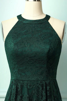 Asymmetrical Green Lace Dress