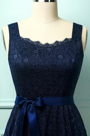 Navy Sleeveless Lace Dress