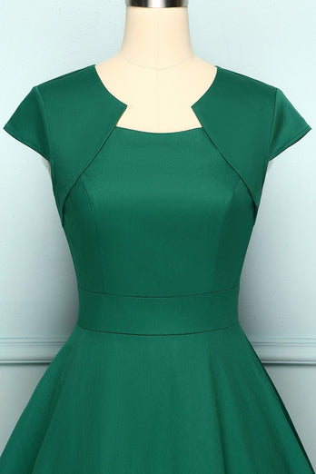 Green Asymmetrical Neck Vintage Dress